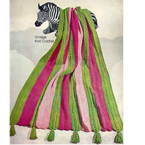Cable Striped Afghan Knitting Pattern, Vintage 1960s
