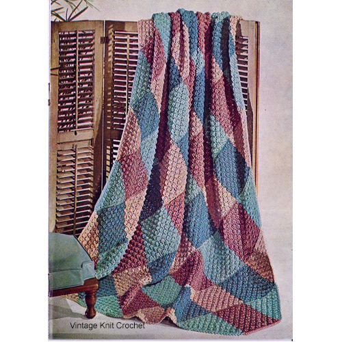 Vintage Knitted Diamond Afghan Crochet Pattern in pastel shades