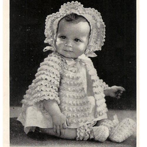 Ruffled Baby Jacket Bonnet Crochet Pattern