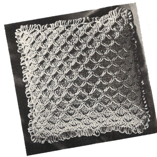 knitting pattern for honeycomb pillow, vintage 1960s