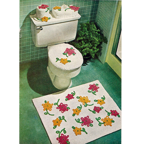 Knitted Bathroom Set Pattern, Flower Rug and Toilet Seat Covers