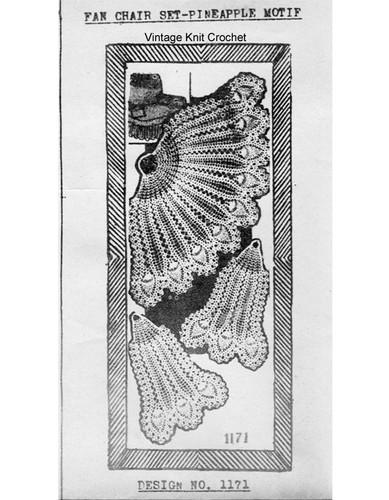 Crocheted Fan Doily Pattern, Needlework Bureau E-1171