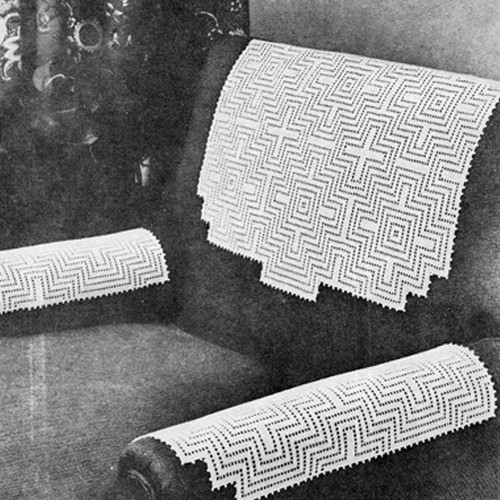Vintage Geometric Crochet Chair Set Pattern