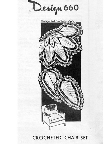Feather Leaf Chair Doily pattern, Mail order 660