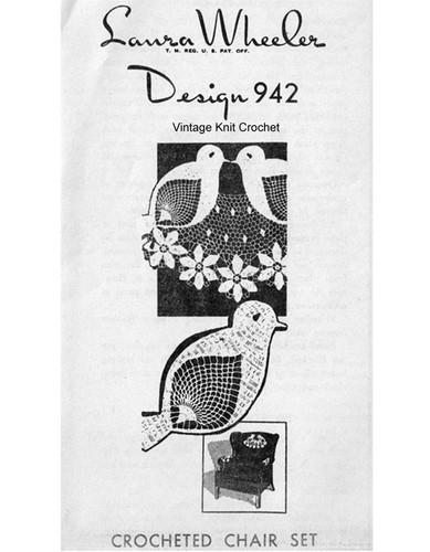 Crochet Bluebird Chair Set Pattern, Mail Order 942