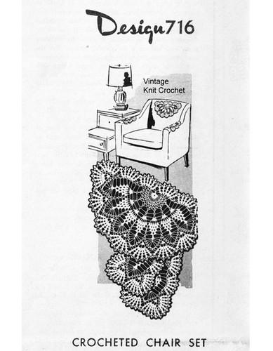 Pineapple Fan Crochet Chair Set, Mail Order 716