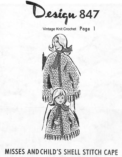Crochet Cape Pattern, Shell Stitch, Mail Order Design 847