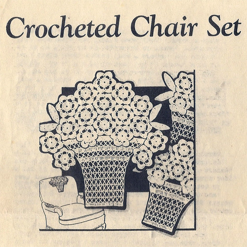 Alice Brooks 6394, Crochet Flower Basket Chair Set