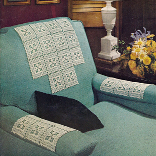 Crochet Floral Square Chair Set Pattern