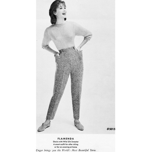 Knitted Slacks Pattern, Vintage 1950s