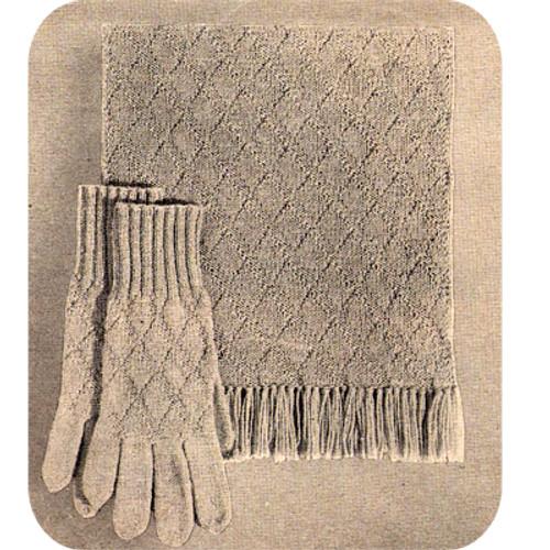 Vintage Knitted Scarf Gloves Pattern in Diamond Stitch