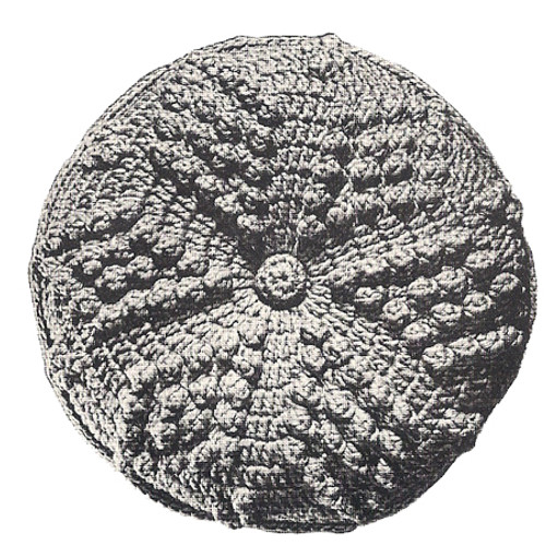Crocheted Round Pillow Pattern in Popcorn Stitch