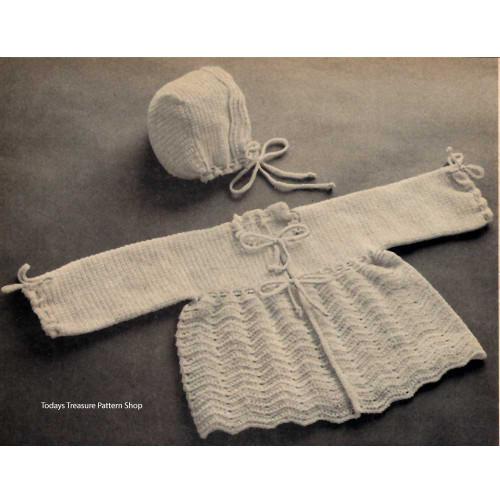 Vintage Baby Jacket Bonnet Crochet Pattern