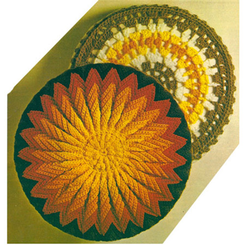 Round Crochet Pillow Patterns, Star and Sunburst Motif