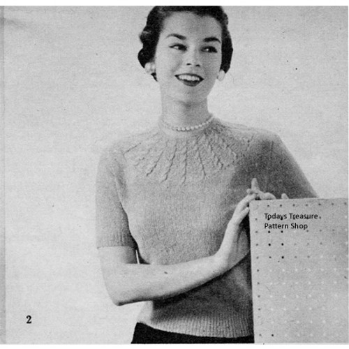Knitted Short Sleeve Blouse pattern, Vintage 1950s