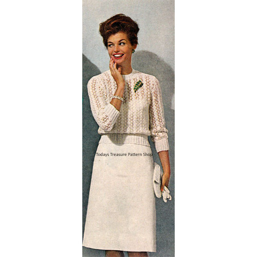 Vintage Knitting Pattern for Lace Blouse