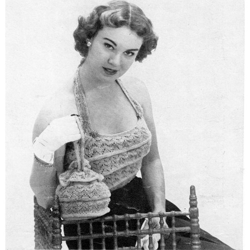 Knitted Halter Top Pattern, Vintage 1950s