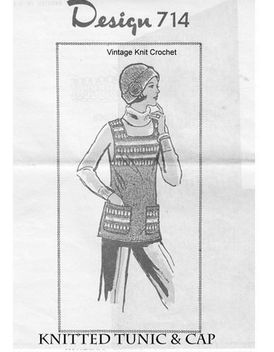 Tunic Knitting Pattern, Square Yoke, Mail Order 714
