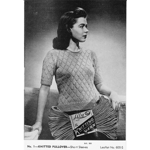 Knitted Short Sleeve Pullover Pattern in Diamond Stitch