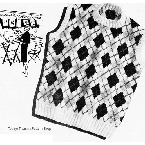 Vintage Argyle Shell Knitting Pattern