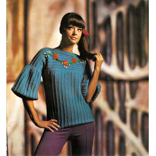 Long Knit Tunic Blouse Pattern, Vintage 1960s