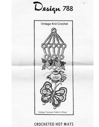 Bird Cage Butterfly Hot Plate Mats Pattern, Mail Order 788