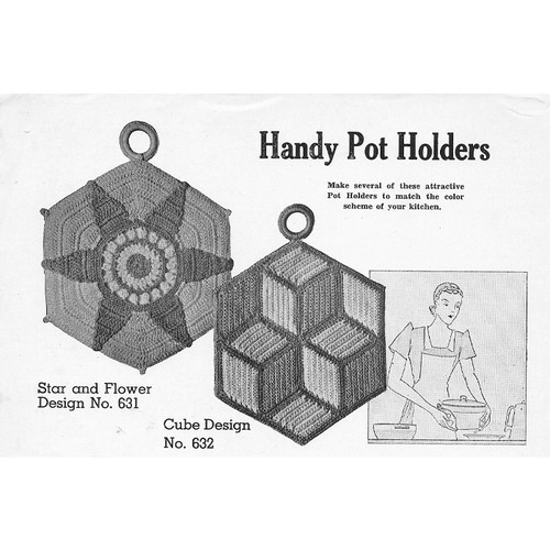 Crocheted Cube Potholders Pattern, Vintage Lily Mills