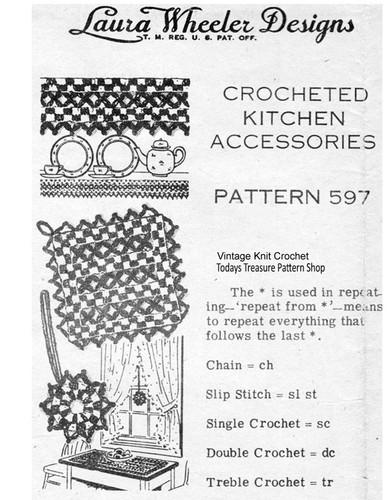 Crocheted Kitchen Potholders Mats Pattern, Design 597