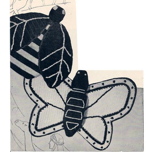 Crochet Potholders Pattern, Bee and Butterfly