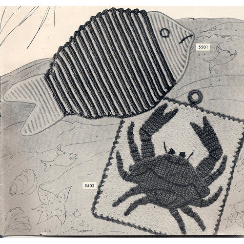 Vintage Crochet Pattern, Fish and Crab