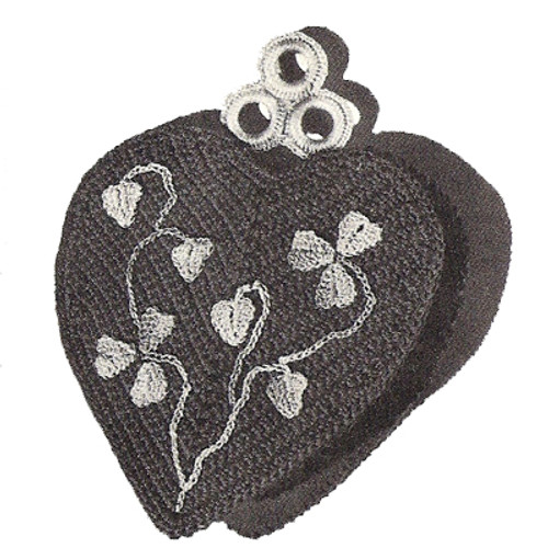 Crochet Heart Potholder Pattern with Flowers
