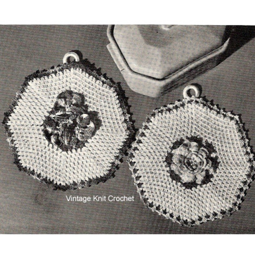 Crochet Octagon Potholder Pattern in Rose Motif