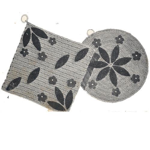 Crochet Daisy Potholder Pattern, Square and Round