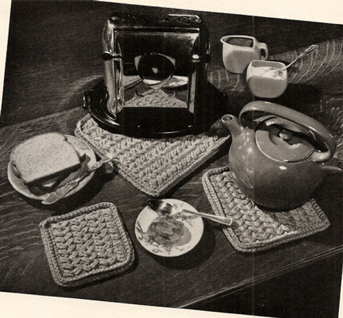 Crochet Hot Plate Pattern Set, Vintage 1950s
