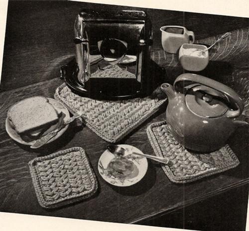Crochet Hot Plate Pattern Set, Vintage 1950s