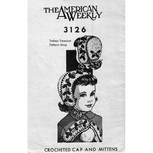 American Weekly 3126, Girls Crocheted Hat and Mittens