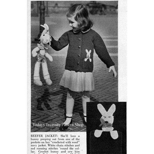 Childs Crocheted Reefer Jacket with stuffed bunny