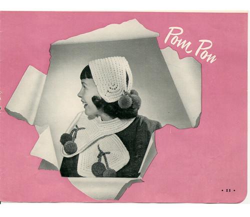 Vintage Girls Crochet Hat Pattern with Pompom Back Ties