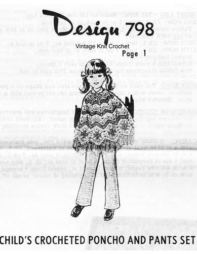 Girls Crochet zig-zag poncho pattern Mail Order Design 798