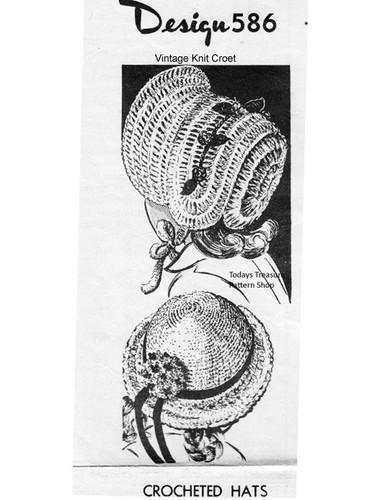Girls Crochet Bonnet Pattern, Mail Order 586