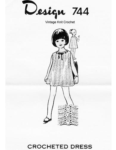 Girls Easy Crochet Dress Pattern, Mail Order 744