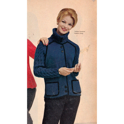 Long Knitted Jacket Pattern with Saddle Sleeves