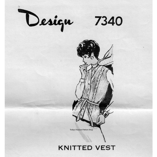 Mail Order Design 7340, Pullover Cable Vest Knitting Pattern