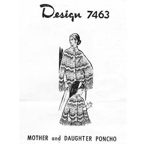Alice Brooks 7463,  Crochet Poncho Pattern, Mother Daughter