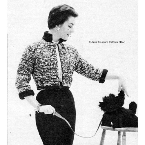 Tweed Jacket Knitting Pattern, stand-up collar