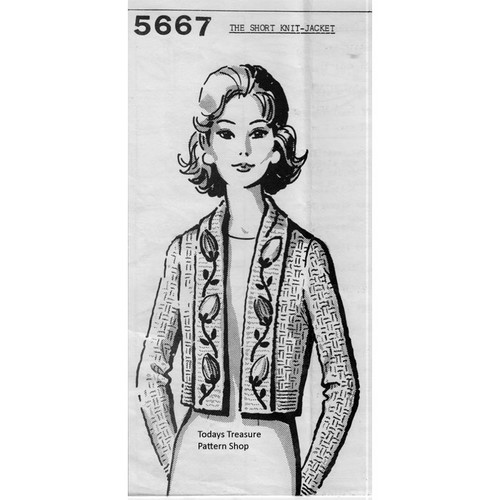 Mail Order Design 5667, Short Knitted Jacket Pattern