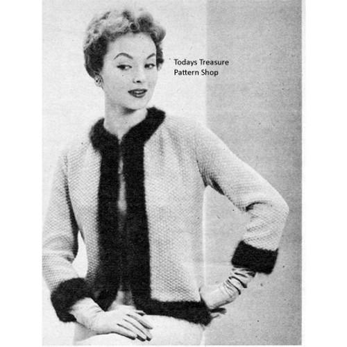Vintage Knitting Pattern Jacket with Angora Trim