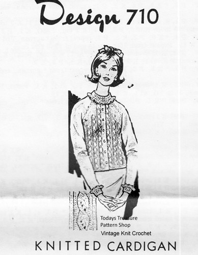 Knitted Cable Cardigan Pattern, Ruffled Collar, Mail Order 710