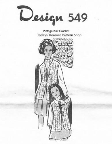Mother Daughter Crochet Vests Pattern, Mail Order 549