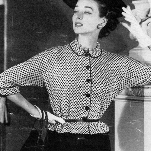 Knitted Checked Blouse Pattern, Vintage 1950s